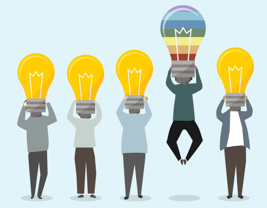 five man standing with a bulb