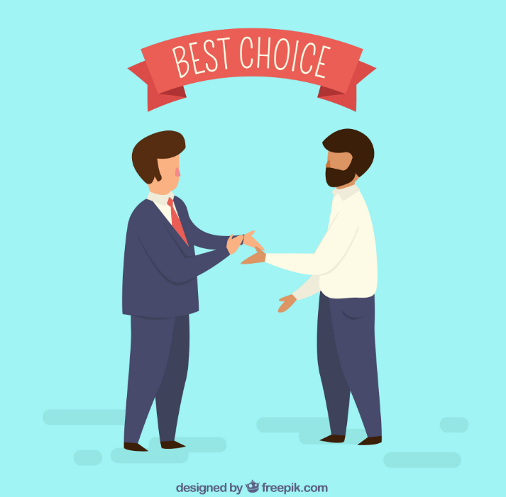 two men shaking hands while making a good deal for choosing Truepush notifications