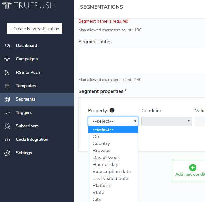 dashboard of Truepush showing segmentation feature for push notifications