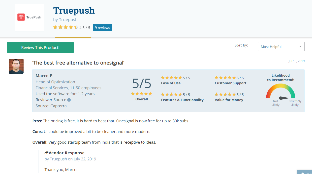 Marco Ponce review on Truepush notifications on capterra review platform