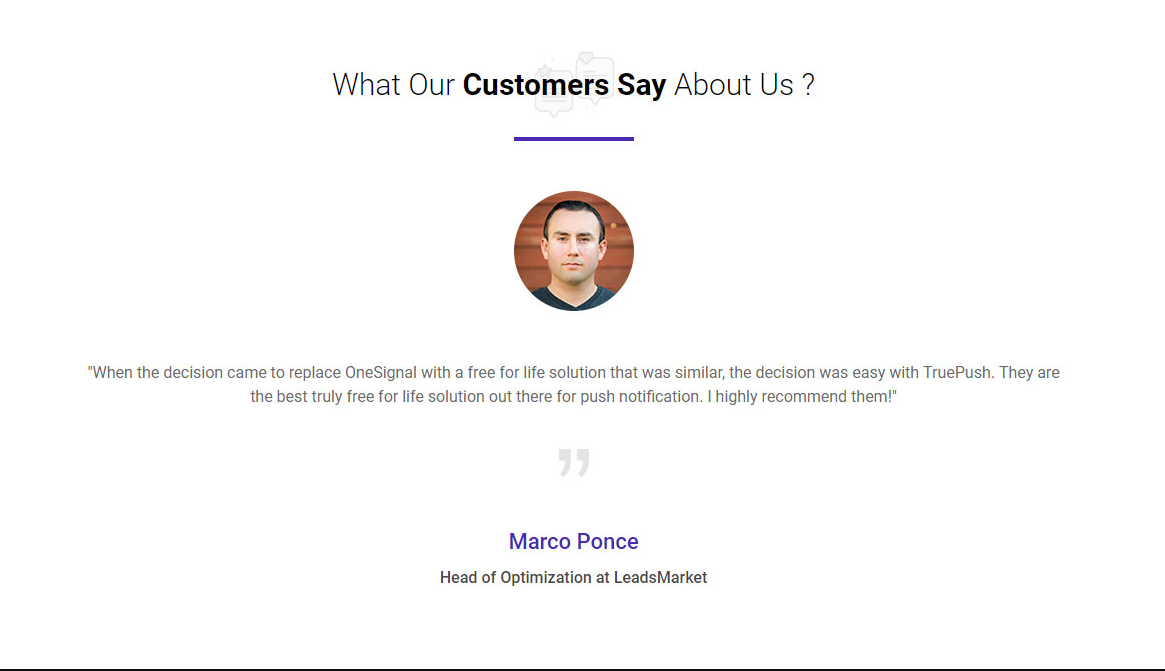 customer review for Truepush notifications