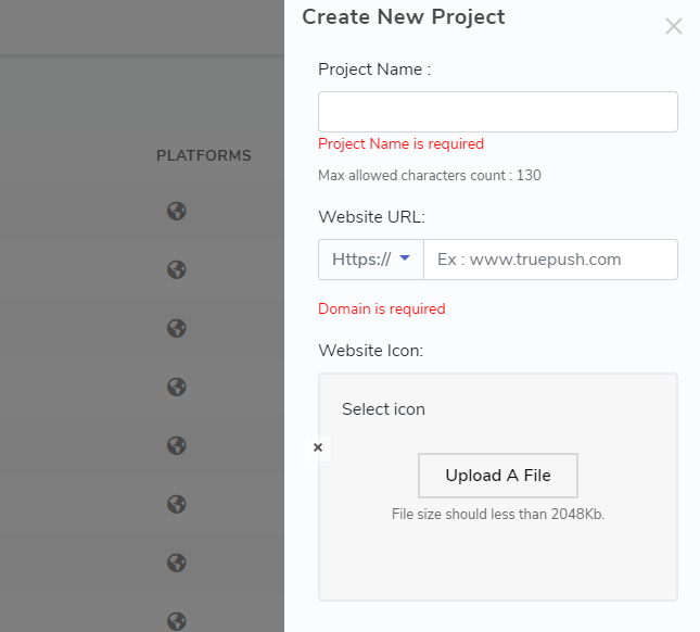 duplication project window for push notifications