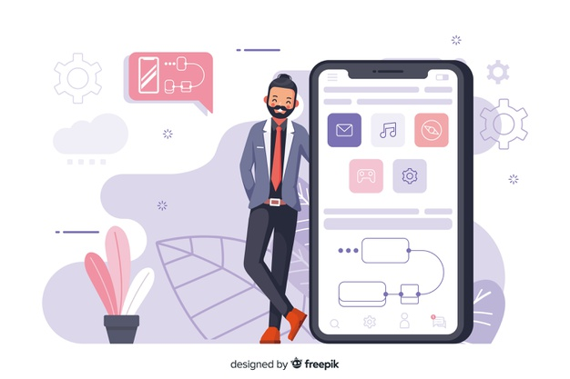 Mobile push notifications vector